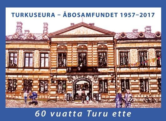 Kuvassa 60-vuotisjuhlavuoden kunniaksi omakuvapostimerkki Brinkkalan talosta. Suunnitellut Ulriikka Lipasti.
